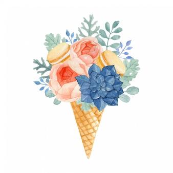 Sorvete floral aquarela com macaroons, rose, dusty miller, eucalyptus e succulent