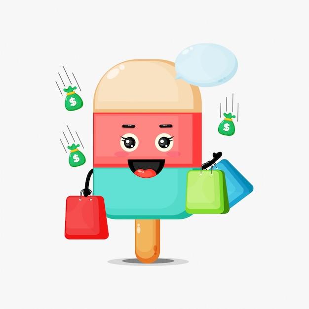 Sorvete fofo de mascote segurando uma sacola de compras
