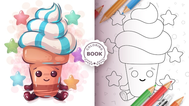 Sorvete fofo - página para colorir