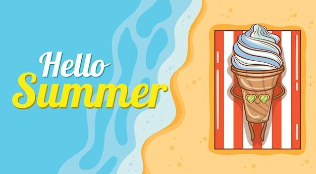 Sorvete fofo tomando banho de sol na praia com uma faixa de saudação de verão