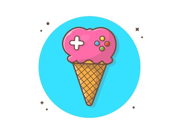 Sorvete gaming vector icon ilustração
