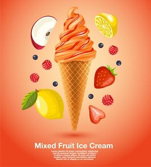 Sorvete misto de frutas frescas