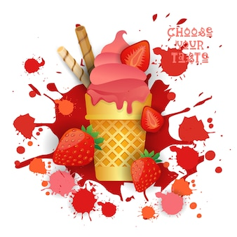Sorvete morango cone colorido sobremesa icon escolha seu taste cafe poster