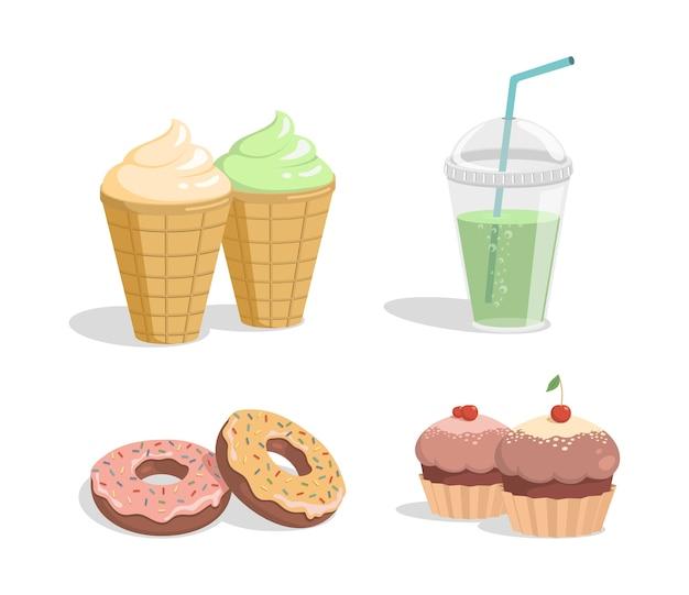 Sorvete, refrigerante, donuts e cupcakes de chocolate