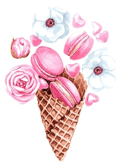 Sorvete rosa, ilustração em aquarela