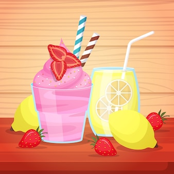 Sorvete, suco de limão, bebida, menu saboroso na ilustração da mesa