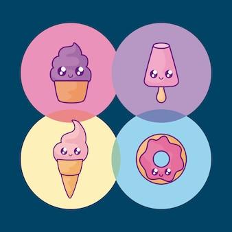 Sorvetes com bolinho e donut kawaii