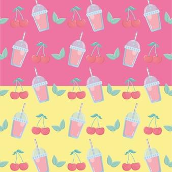 Sorvetes de frutas cerejas frescas com padrão de palha