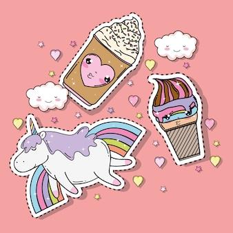 Sorvetes kawaii com adesivo de unicórnio e arco-íris