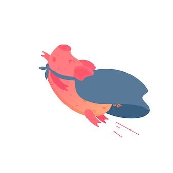 Sou super homem. ilustração de porco bonito dos desenhos animados.