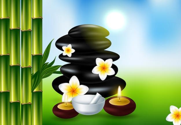 Spa ainda vida com flor de frangipani