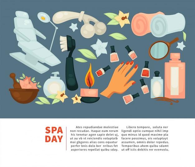 Spa corpo relaxar e mulher skincare tratamento vector plana cartaz