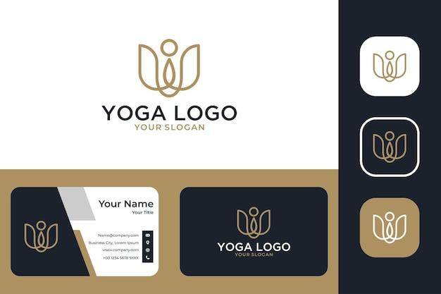 Spa de beleza e design de logotipo de arte de linha de ioga e cartão de visita