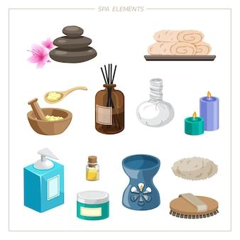 Spa definir vetor de elementos. design plano pedras de spa folhas tropicais ilustração vetorial spa oriental
