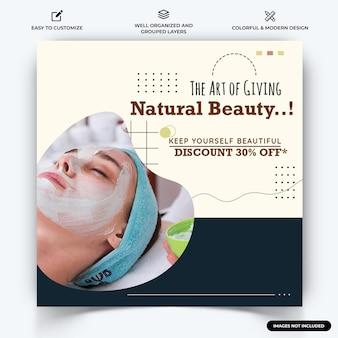 Spa e beleza instagram post web banner template vector premium vector