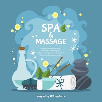 Spa e massagem de fundo em design plano