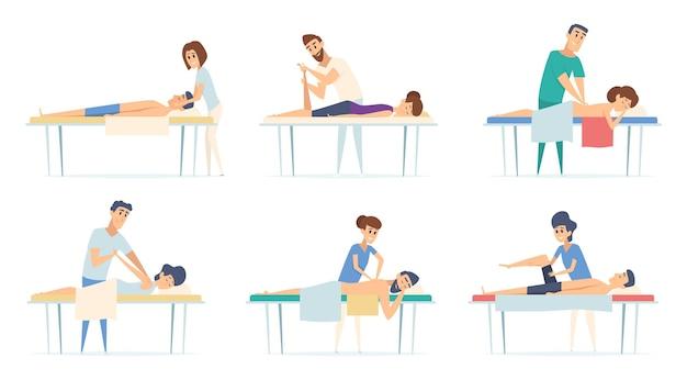 Spa relaxar fisioterapia procedimento massagem corretiva lesão esporte alongamento médico desenhos animados ilustrações.