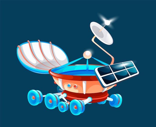Space rover, moonwalker no universo, explorador de galáxias, investigação do universo, espaçonave expansível