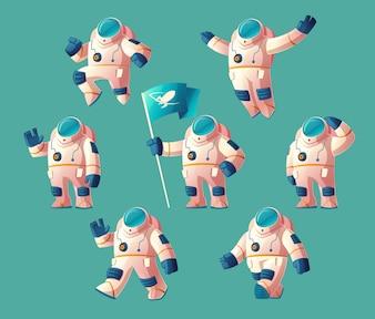 Spaceman dos desenhos animados, movendo o cosmonauta no spacesuit, capacete isolado no fundo azul