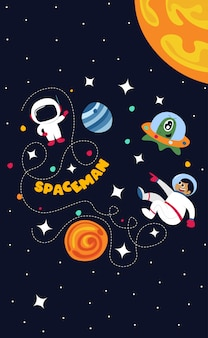 Spaceman no espaço sideral com todas as estrelas e planetas ilustração
