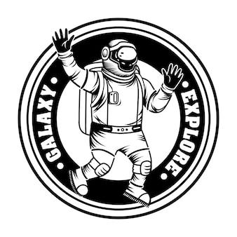 Spaceman vintage explorando ilustração vetorial de galáxia. astronauta monocromático com traje espacial e capacete
