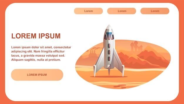 Spaceship surface planeta vermelho.