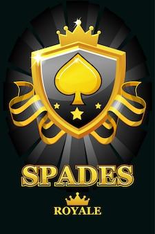 Spades royale em escudo preto. banner de cassino com fita de premiação e coroa