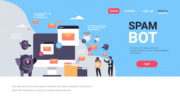 Spam bot email spamming ataque robô aplicação de computador internet spammer conceito inteligência artificial