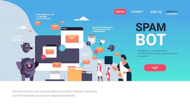 Spam bot email spamming ataque robô aplicação de computador internet spammer concept