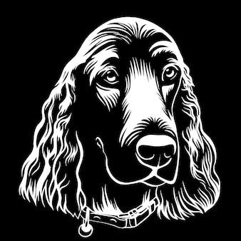 Spaniel cachorro mão contorno desenhado ilustração em vetor de estoque