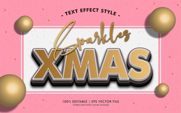 Sparkles xmas text effects style