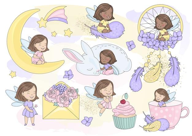 Sparkling fairy conjunto de ilustração vetorial