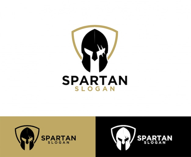 Sparta shield helm symbol design de logotipo