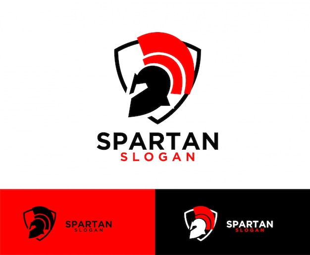 Sparta shield helm symbol design de logotipo