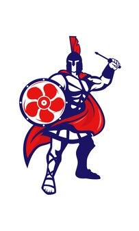 Spartan detém uma chave de fenda e ilustração de escudo do ventilador