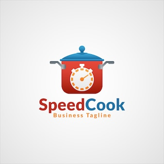 Speed cook - logotipo profissional do restaurante fast food