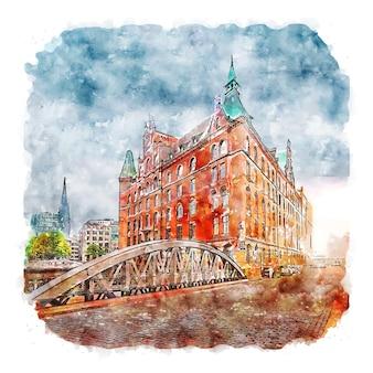Speicherstadt alemanha esboço em aquarela ilustrações desenhadas à mão