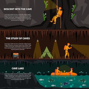 Speleiologists no conjunto de banners plana de caverna