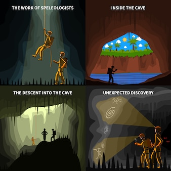Speleologists 4 flat icons square banner