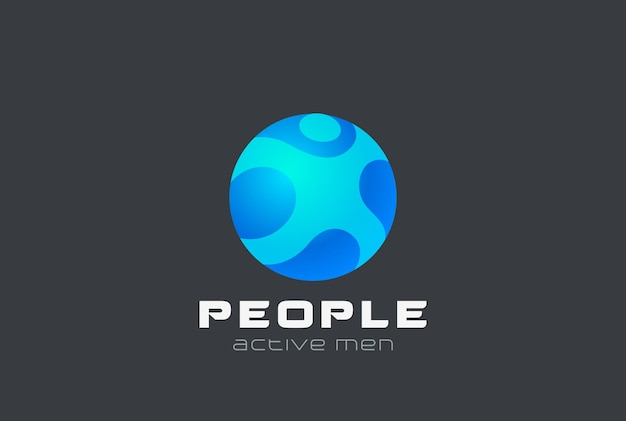 Sphere man digital people generation logo design. emblema do círculo da internet na web