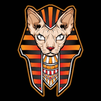 Sphynx cat egyptian logo
