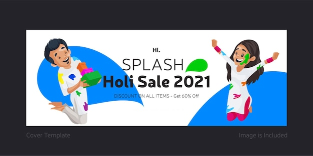 Splash holi sale template design de página do facebook
