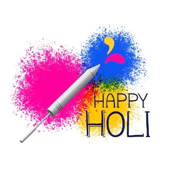Splatter de cores com pichkari para saudação de festival de holi