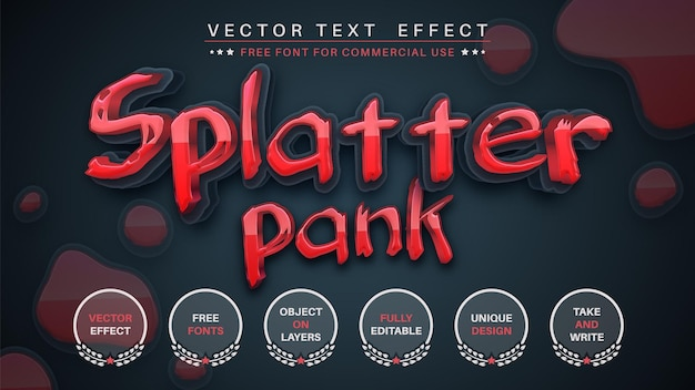 Splatterpank editar estilo de fonte editável de efeito de texto