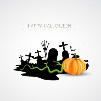 Spooky halloween design com sepultura e abóbora