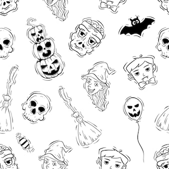 Spooky halloween ícones ou elementos no padrão sem emenda