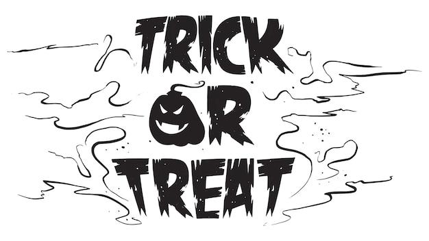 Spooky trick or treat texto com abóbora
