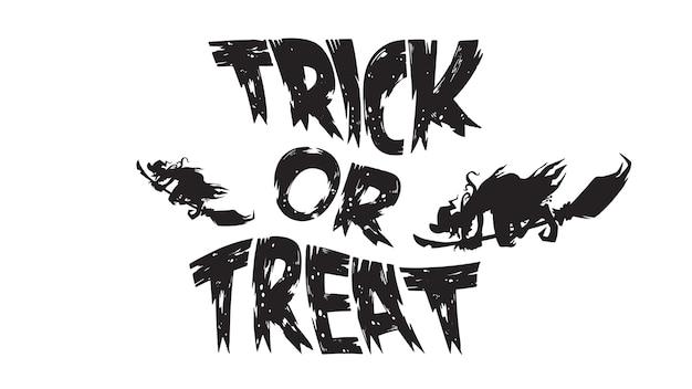 Spooky trick or treat texto com bruxa voadora