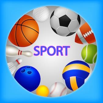 Sport equipment elements background ilustração