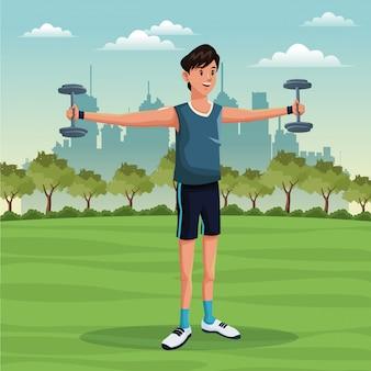 Sport man lifestyle park city background